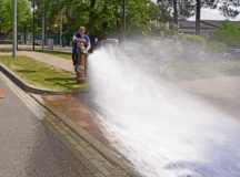 Thomas Bredel, water plant mechanic, 786th Civil Engineer Squadron, tests the water pressure of a fire hydrant May 9 on Ramstein Air Base. Hydrant flow tests are conducted every spring.