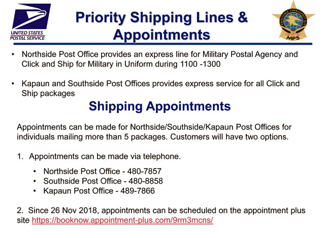 USPS Priority Shipping Lines & Appointments