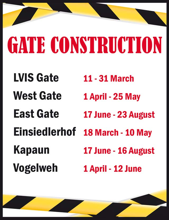 Gate construction for KMC scheduled until August