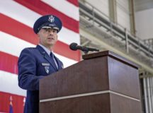 Gen. Jeff L. Harrigian, U.S. Air Forces in Europe Air Forces Africa commander, delivers his first address as commander during a change of command ceremony held at Ramstein Air Base, May 1. As the new commander of USAFE-AFAFRICA, Harrigian is responsible for the full spectrum of Air Force war-fighting capabilities for two combatant commands.