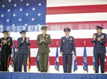 Gen. Jeff L. Harrigian, U.S. Air Forces in Europe - Air Forces Africa commander, receives a standing ovation during a change of command at Ramstein Air Base, May 1. Harrigian took command from Gen. Tod D. Wolters, who has been selected to become the new European Command commander and Supreme Allied Commander Europe.