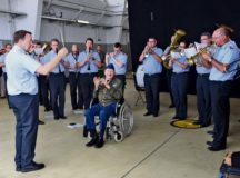 "The German military band played a special performance for retired U.S. Air Force Col. Gail Halvorsen, the famed ""Candy Bomber"" in the Berlin Airlift, before a memorial service June 11, at Lucius D. Clay Kaserne airfield in Wiesbaden. The event commemorated those who participated in the historic military operation in 1948 to 1949."