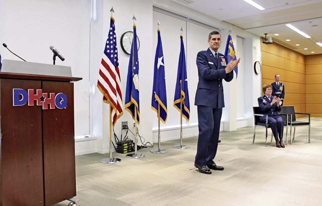 Brig. Gen. Mark Koeniger speaks at the official activation of the Air Force Medical Readiness Agency, at Defense Health Headquarters, Falls Church, Virginia, June 28. Koeniger is to be the first AFMRA commander