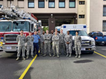 Members of the 86th Civil Engineer Squadron Fire Protection Flight and 86th Medical Operations Squadron Ambulance Services pose outside Fire Station One at Ramstein Air Base, June 15. Ramstein recently started 24/7 ambulance services. Before, on base incidents occurring after hours required an off base ambulance that could take 12 to 20 minutes to respond. Ambulance services has already responded to five calls that would have been outside their duty hours prior.