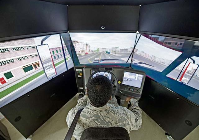 U.S. Air Force Staff Sgt. John Williams, 86th Vehicle Readiness Squadron assistant noncommissioned officer in charge of equipment support, operates the 86th VRS' new vehicle simulator at Ramstein Air Base, Aug 7. The simulator trains VRS Airmen on a variety of vehicles and situations