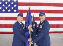 U.S. Air Force Col. Daniel C. Clayton, right, assumes command of the 435th Air Ground Operations Wing and 435th Air Expeditionary Wing, from Maj. Gen. John M. Wood, Third Air Force commander, at Ramstein Air Base, Aug. 16. The two wings provide battlefield and expeditionary Airmen to combatant commanders.