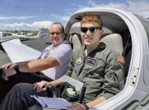An Air Force Junior ROTC cadet gets ready for a check ride with his instructor at Utah Valley State University, Orem, Utah. The Air Force Junior ROTC Flight Academy is a Chief of Staff of the Air Force Scholarship Program intended to expose high school students to the benefits of a career in aviation. Air Force Junior ROTC sent 150 cadets to 11 universities across the country for an intensive eight-week program with 45 percent of the class being female or minority.