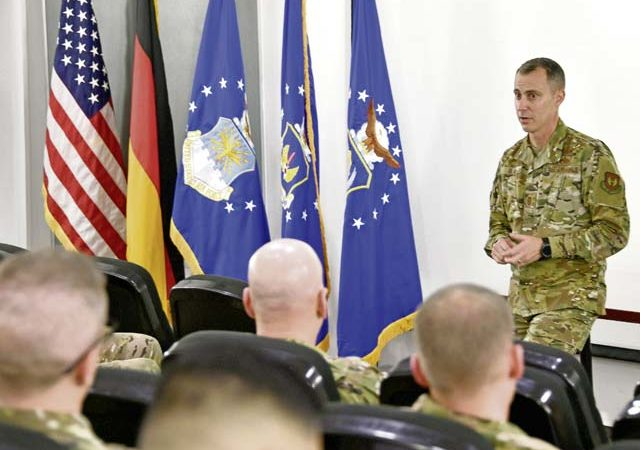 Chief Master Sgt. Brion Blais, U.S. Air Forces in Europe and Air Forces Africa command chief, speaks to squadron superintendents during the USAFE-AFAFRICA Squadron Superintendents and Spouses Course, Oct. 1, on Ramstein Air Base. The 25-year veteran is the senior enlisted advisor to the commander on all matters affecting operations, training and readiness, health, morale and welfare, discipline and effective use of total force personnel assigned to eight wings and 88 geographically separated units across 104 countries.