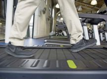 Master Sgt. Joseph McTaggart, non-commissioned officer in charge of Ramstein Air Base Southside Fitness Center, walks on one of the new environmentally friendly treadmills at the Southside Fitness Center on Ramstein Air Base, Oct. 4. The treadmill functions entirely on the individual's own energy. As the individual moves, the treadmill transfers the individual's energy into usable energy, which is put back into the power grid.