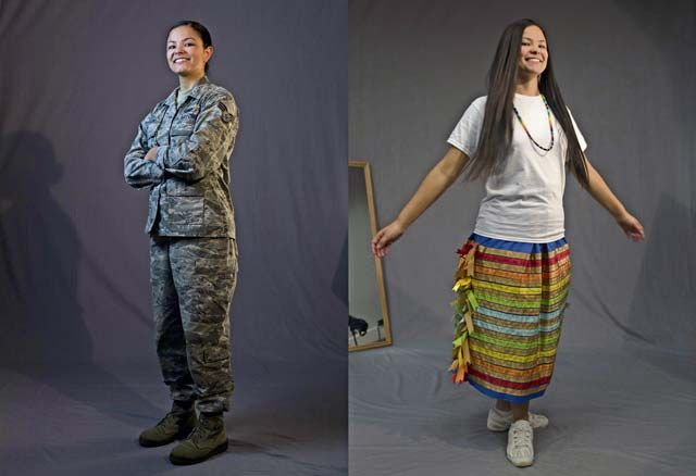 U.S. Air Force Senior Airman Kaylea Berry, 86th Airlift Wing Public Affairs broadcast journalist, is pictured in her military uniform, left, and her traditional Mvskoko (Creek) Nation attire at Ramstein Air Base, Nov. 8. Berry keeps a connection with her tribe by learning its language and history, and by reading about how current events affect her, her family, and her tribe.