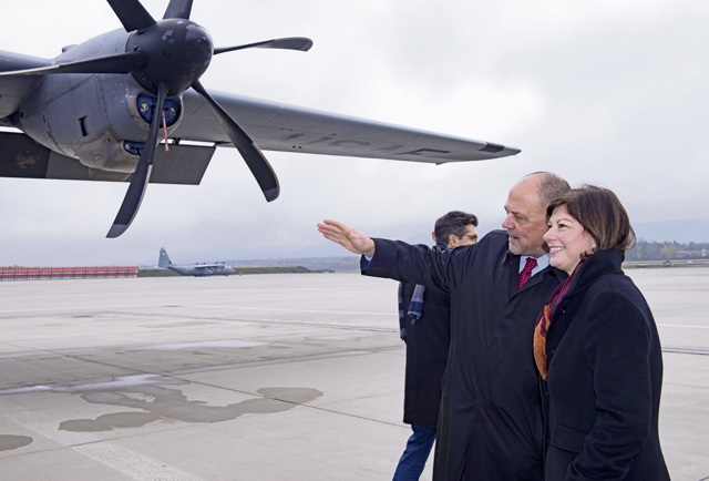 Scott Lockard, left, 86th Airlift Wing vice director, shows Nicole Steingaß, Rheinland-Pfalz state secretary, a C-130J Super Hercules aircraft on Ramstein Air Base, Nov. 20. Steingaß coordinates between the Rheinland-Pfalz and U.S. Forces that operate within its borders.