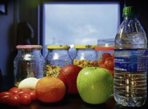 A display of fruits, vegetables, nuts and water, as shown at Ramstein Air Base, Jan. 10. In response to the closure of the Rheinland Dining Facility, Health Promotions is offering cooking classes and information on healthy eating. Illustration by Airman 1st Class Jennifer Gonzales, (Used blur tool to not show endorsement)