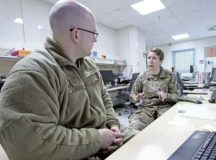 U.S. Army Maj. Elizabeth Jauregui, The Joint Commission readiness officer at LRMC, provides feedback to U.S. Air Force Capt. Christopher Hardwick, during a Joint Commission tracer, Jan. 15. These mock surveys aid hospital sections in improving patient safety, care and processes.