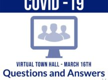Team Ramstein leadership hosted a virtual town hall March 16 to provide updates on COVID-19 within the Kaiserslautern Military Community. Leaders and subject matter experts from Public Health, base schools, the Base Exchange and commissary addressed challenges associated with combating the pandemic and how to correctly practice social distancing.Graphic by Staff Sgt. Kirsten Brandes