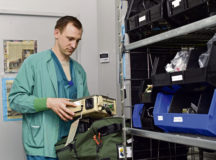 U.S. Air Force Staff Sgt. Michael Kile, 86th Medical Squadron Critical Care Air Transport Team noncommissioned officer in charge, checks a ventilator in the CCATT Shack at Landstuhl Regional Medical Center, April 2. Medical equipment is checked periodically and before patient transportations to ensure proper function.