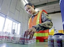 U.S. Army Reserve Spc. Tiffany Boatner, a human resources specialist with Medical Support Unit-Europe, 7th Mission Support Command, sorts bottles of acetaminophen at the U.S. Army Medical Materiel Center, Europe warehouse in Pirmasens, March 26. 7th MSC Soldiers are supporting the shipping and receiving functions in the warehouse to help with the high demand of Army Class VIII medical supplies during the COVID-19 pandemic.