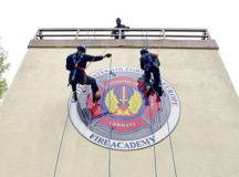 U.S. Air Force Airmen assigned to 86th Civil Engineer Squadron fire department rappel a structure during a rescue certification course at Ramstein Air Base, April 28. The 86th CES firefighters practiced changing ropes after finding obstructions in their ropes, while ascending and descending the structures.