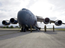 A C-17 Globemaster III assigned to the 437th Airlift Wing, Joint-Base Charleston, South Carolina, sits on the flight line at Ramstein Air Base, May 2. Medical personnel from the Air Force Reserve Command arrived to help support efforts in the fight against COVID-19.