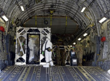 U.S. Air Force Airmen assigned to the 521st Air Mobility Operations Wing decontaminate a Transport Isolation System on a U.S. Air Force C-17 Globemaster III aircraft, after the transport of a potentially infectious patient to Ramstein Air Base, May 8. The mission marked the fourth mission and the 14th patient moved using the TIS since its first operational use on April 10. The TIS is an infectious disease containment unit designed to minimize contamination risk to aircrew and medical attendants, while allowing in-flight medical care for patients afflicted by a disease like coronavirus disease 2019. Presently, Air Mobility Command has multiple TIS Force Packages on alert at Ramstein, Travis AFB, and Joint Base Charleston, to support global requirements that may arise.