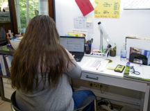Shannon Blakely, third grade teacher, grades student assignments at her home in Landstuhl, May 12. The Department of Defense Education Activity closed schools March 16 for the remainder of the year, moving teaching in the classroom to virtual learning.