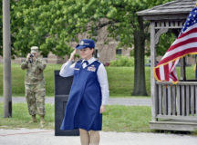 Lt. Col. Hallie Herrera salutes during her change of command ceremony at Fort George G. Meade, Md., June 16. Hererra, who was eight months pregnant at the time, took command of the 22nd Intelligence Squadron.