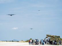 U.S. C-130J Super Hercules aircraft assigned to the 37th Airlift Squadron and Bulgarian C-27J Spartan aircraft approach the drop zone during Thracian Summer 2020 media day at Cheshnegirovo landing zone, Bulgaria, Aug. 19, 2020. The 37th AS dropped container delivery systems and Bulgarian air force parajumpers during the demonstration of their unique capabilities. (U.S. Air Force photo by Tech. Sgt. Devin Nothstine)