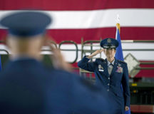 Gen. Jacqueline D. Van Ovost, commander of Air Mobility Command, returns her first salute to Lt. Gen. Brian Robinson, AMC deputy commander, during the AMC change of command ceremony at Scott Air Force Base, Ill., Aug. 20. AMC provides rapid, global mobility and sustainment for America's armed forces. Photo by Senior Airman Solomon Cook