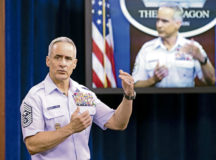 """Senior Enlisted Advisor to the Chairman of the Joint Chiefs of Staff, Ramón """"CZ"""" Colón-López, conducts Diversity and Inclusion PSA in the Pentagon Briefing Room, Washington D.C. Aug. 17, 2020.  (DoD photo by Marvin Lynchard)"""