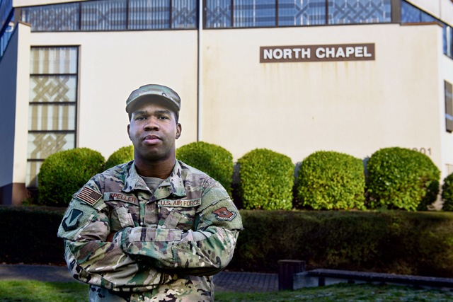 U.S. Air Force Staff Sgt. Rashad A. Speller, 86th Airlift Wing Chapel non-commissioned officer in charge of readiness, poses for a photo at Ramstein Air Base, Germany, Nov. 5, 2020. Speller's dedication ensured that 63 critical deployment items met Air Force and Department of Defense requirements. (U.S. Air Force photo by Staff Sgt. Jourdan Barrons)