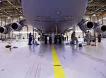 A C-5 Super Galaxy aircraft is placed on aircraft jacks at Ramstein Air Base, Germany, Dec. 11, 2020. Airmen from Incirlik AB, Rota AB, Sapngdahlem AB and Ramstein AB used the aircraft, which is assigned to Dover AFB, Delaware, to learn how to provide effective maintenance to the airframe. (U.S. Air Force photo by Senior Airman Thomas Karol)