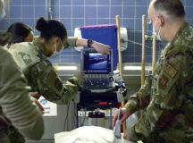 U.S. Air Force Airmen assigned to an 86th Medical Group Ground Surgical Team observe an ultrasound demonstration and skills station during a training in the simulation center at Landstuhl Regional Medical Center, Germany, Feb. 9, 2021. Each GST is composed of an anesthesiologist, clinical nurse, emergency services physician, general surgeon, health services administrator and surgical services craftsman. (U.S. Air Force photo by Senior Airman John R. Wright)