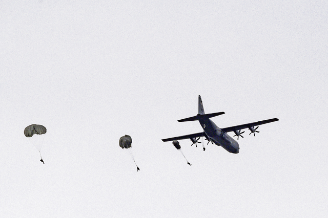 Close to home: Airborne troops jump onto Ramstein airfield