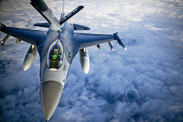 A U.S. Air Force F-16 Fighting Falcon aircraft assigned to the 555th Fighter Squadron, Aviano Air Base, Italy, is refueled by a KC-135 Stratotanker aircraft assigned to the 100th Air Refueling Wing, Royal Air Force Mildenhall, England, during a mission over the Black Sea, Jan. 14, 2021. U.S. military operations in the Black Sea enhance regional stability, combined readiness and capability with our NATO allies and partners. (U.S. Air Force photo by Tech. Sgt. Emerson Nuñez)