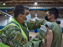 U.S. Air Force Capt. Christopher J. Gresham, 569th U.S. Forces Police Squadron operations officer, receives a COVID-19 vaccination at Ramstein Air Base, Jan. 4. Vaccine distribution is now open to all eligible beneficiaries. Photo by Senior Airman Jennifer Gonzales
