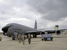 U.S. Air Force Airmen assigned to the 190th Air Refueling Wing, Kansas Air National Guard, prepare to depart on a KC-135 Stratotanker aircraft for the first U.S. Air Forces in Europe – Air Forces Africa Operation Copper Arrow 2021 flight at Ramstein Air Base, Germany, April 16, 2021. The tanker crew carried out the refueling of a NATO E-3A Sentry aircraft operating out of NATO Air Base, Geilenkirchen, Germany. (U.S. Air Force photo by Senior Airman John R. Wright)