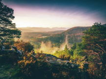 Nice view at sunrise in Germany.  the Palatinate Forest with its countless viewpoints invites you to linger.  often the fog lies in the valley while the sun rises