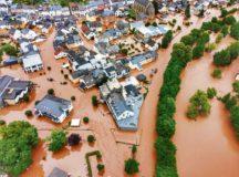 The tiny German village of Kordel, poplulation 2,900, is swamped by rising flood waters July 15.  — Photo by Sebastian Schmitt