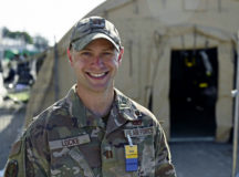 U.S. Air Force Captain Todd Locke, 786th Civil Engineer Squadron explosive ordnance disposal flight commander, poses for a photo during Operation Allies Refuge at Ramstein Air Base, Germany, Sep. 5, 2021. Locke is the director of operations and oversees all activities related to one of the Pod's housing evacuees from Afghanistan on Ramstein's flightline. This includes packaging/distribution of food, security, and general day-to-day events. (U.S. Air Force photo by Senior Airman Caleb S. Kimmell)