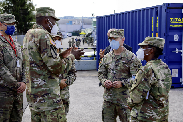 Maj. Gen. Milhorn tours 21 TSC Afghan evacuees site